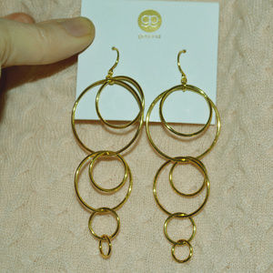 WOW Gorjana Gold Circles Hoops Duster EARRINGS NEW